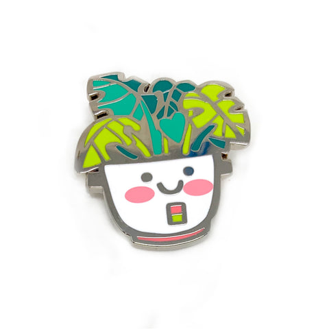 Rice Cooker Monstera Planter Enamel Pin