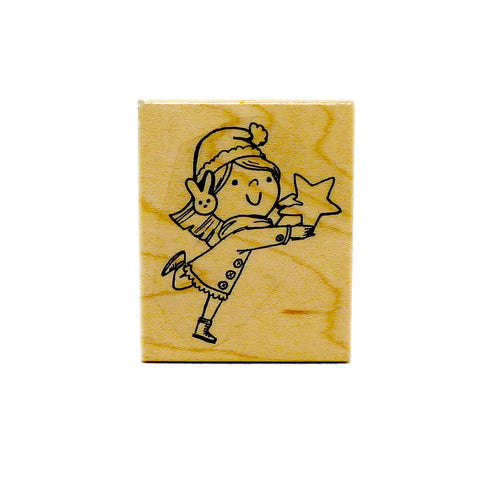 Star Girl Holiday Rubber Stamp