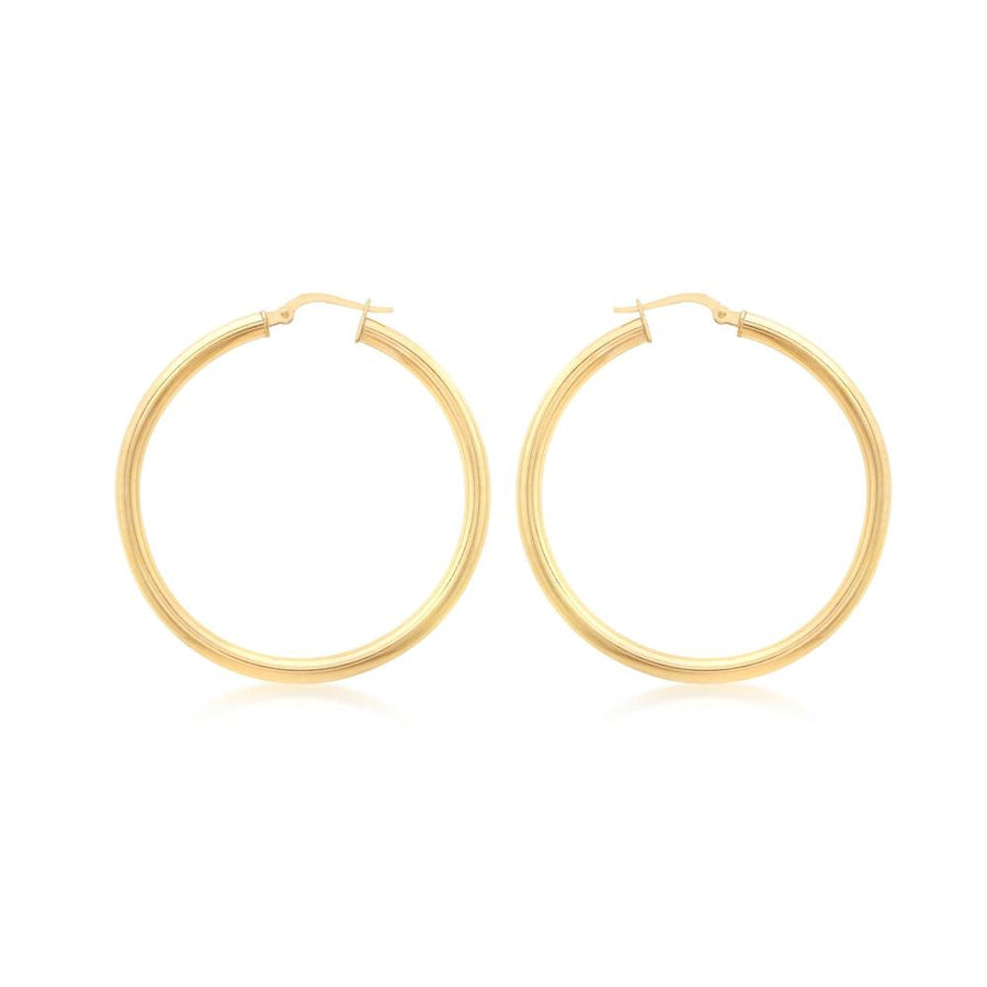 DUO FINE 9CT YELLOW GOLD 23MM HOOP EARRINGS