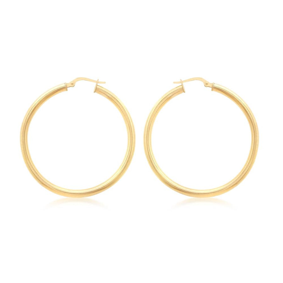 DUO FINE 9CT YELLOW GOLD 25MM HOOP EARRINGS