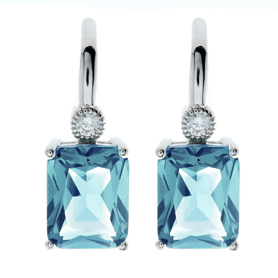 sybella rectangle blue drop earrings