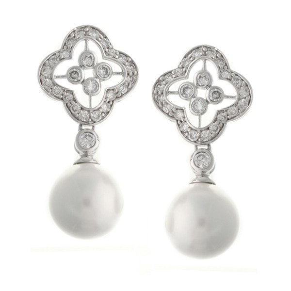 Sybella Cz Flower Drop With White Pearl Earrings