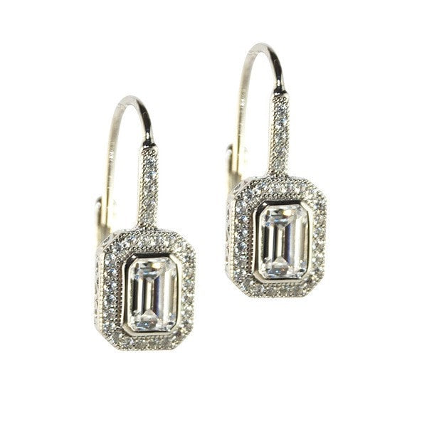 Sybella Micro Pave Classic Rectangle Earrings