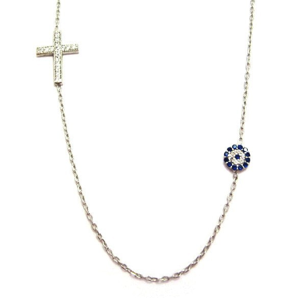 Duo Evil Eye And Cross Necklace