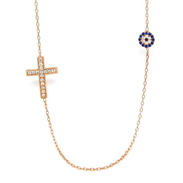 Duo rose gold Evil Eye And Cross Necklace