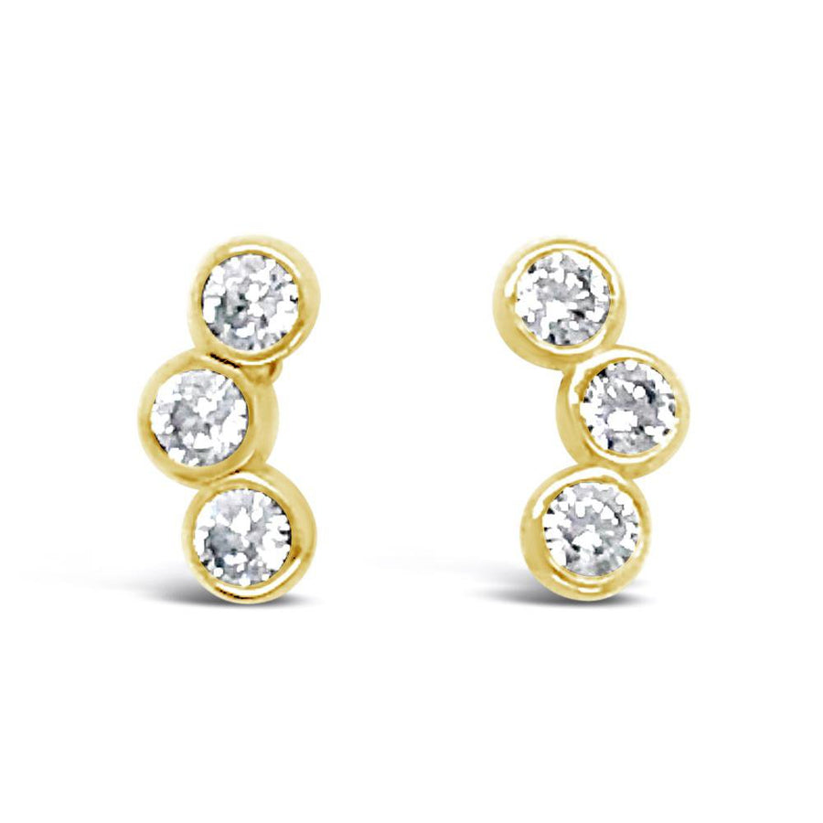 Duo three stone gold stud earrings
