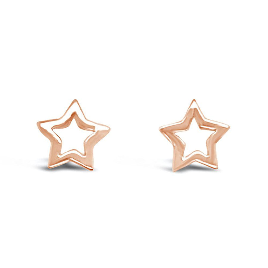 Duo cut out rose gold star earrings