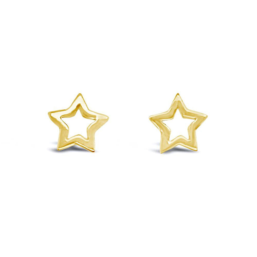 Duo cut out gold star earrings