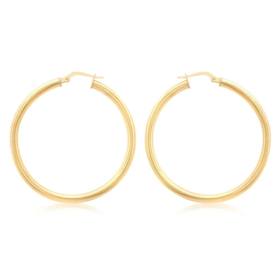 DUO FINE 9CT YELLOW GOLD 35mm HOOP EARRINGS