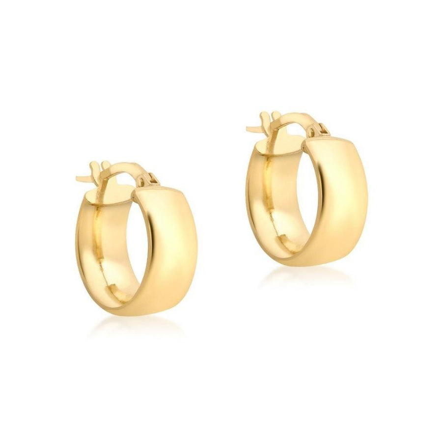 DUO FINE 9CT YELLOW GOLD 14MM HOOP EARRINGS