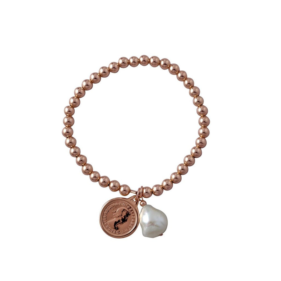 Von Treskow rose gold threepence and pearl bracelet