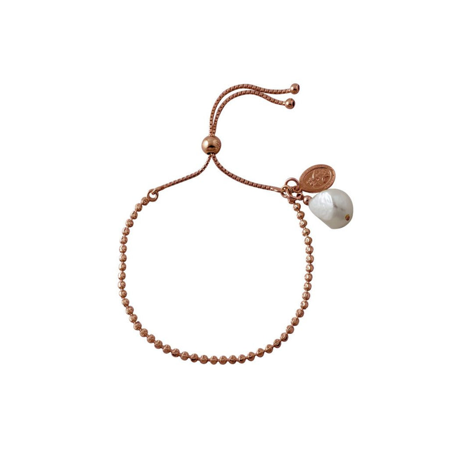 Von Treskow rose gold St. Christopher and  pearl bracelet