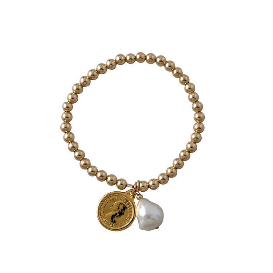 Von Treskow threepence and pearl bracelet