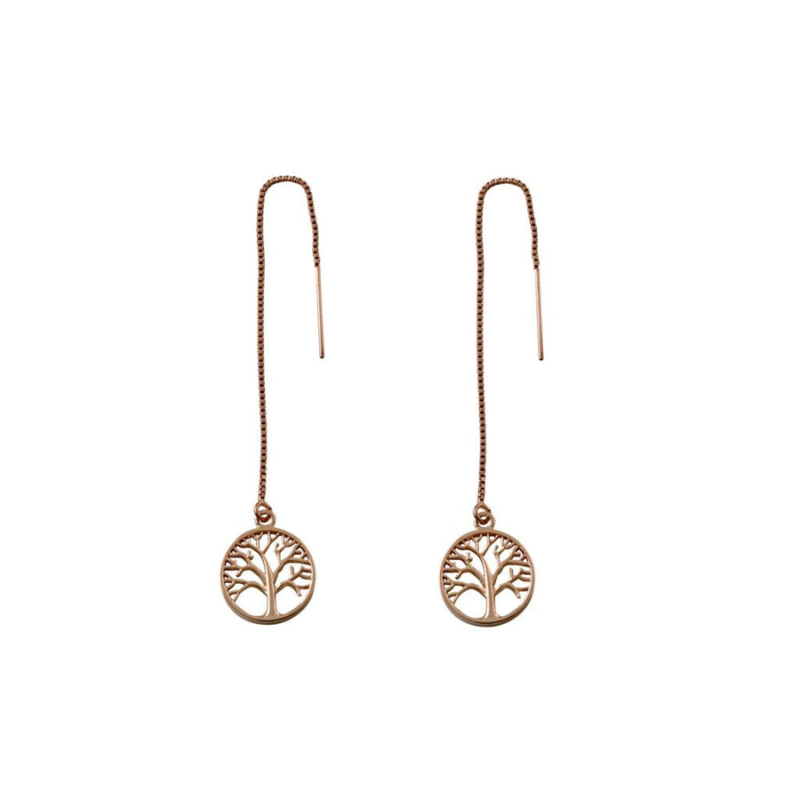 Von Treskow rose gold Tree of life earrings