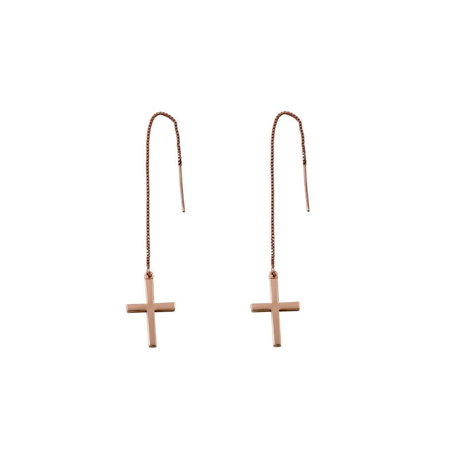 Von Treskow rose gold cross earrings