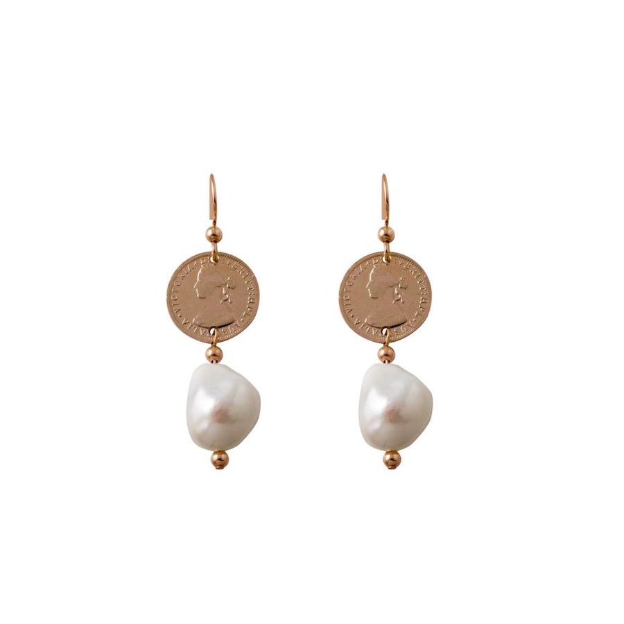 Von Treskow rose gold token coin and pearl earrings