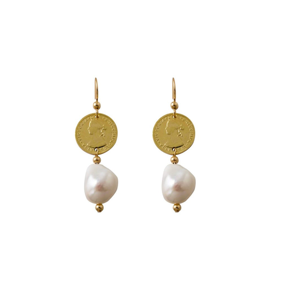 Von Treskow gold token and pearl earrings