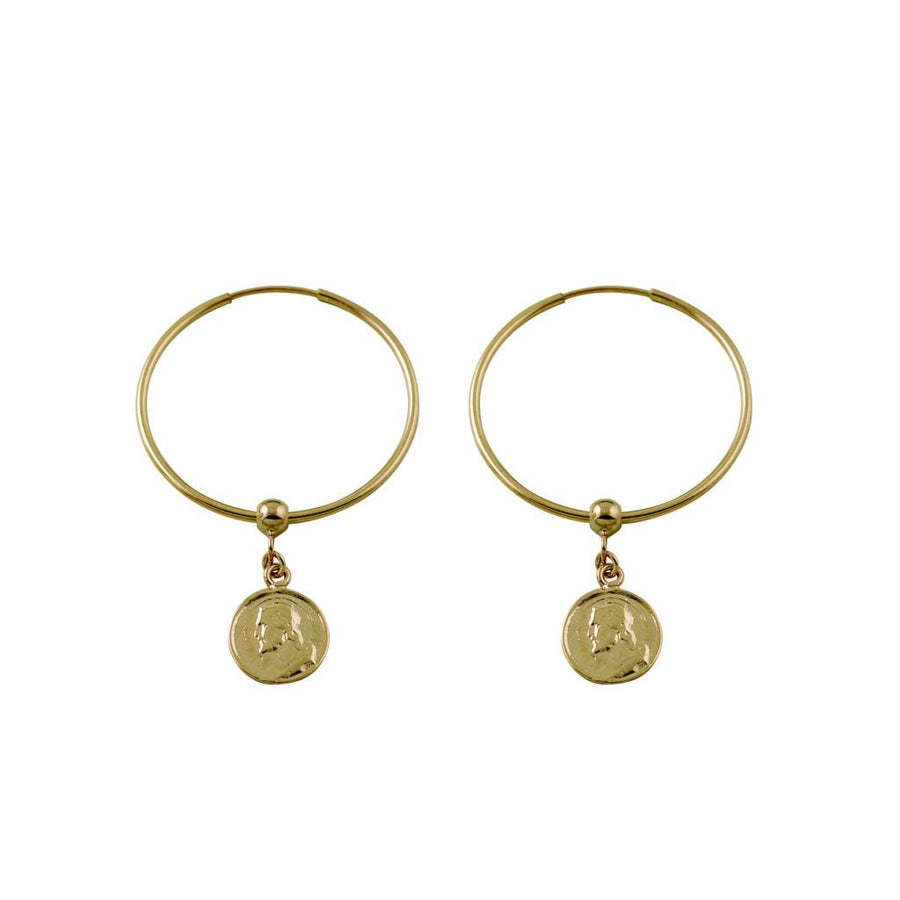 Von Treskow gold religious charm earrings