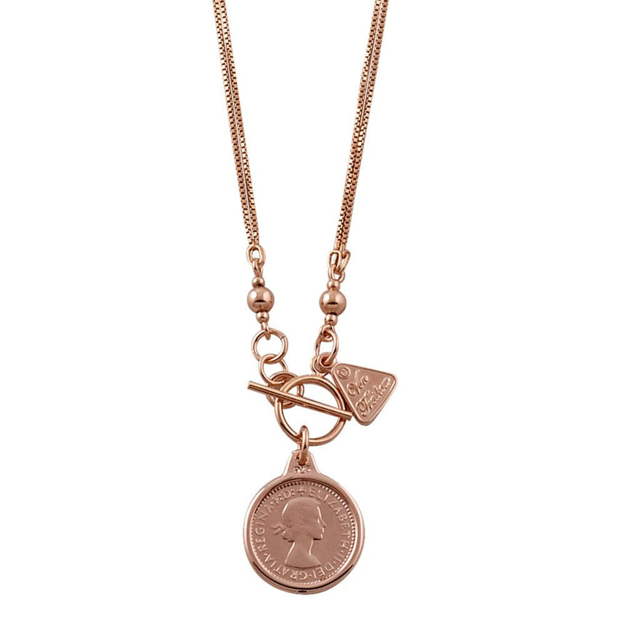 Von Treskow rose gold threepence necklace