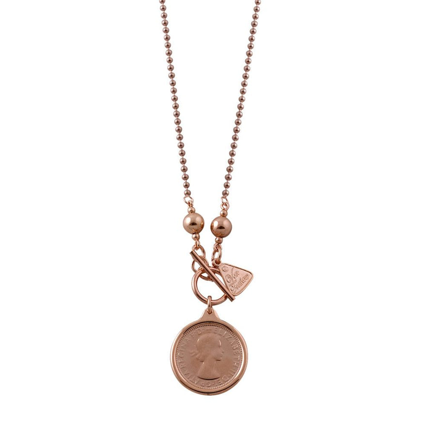 Von Treskow rose gold half penny coin necklace