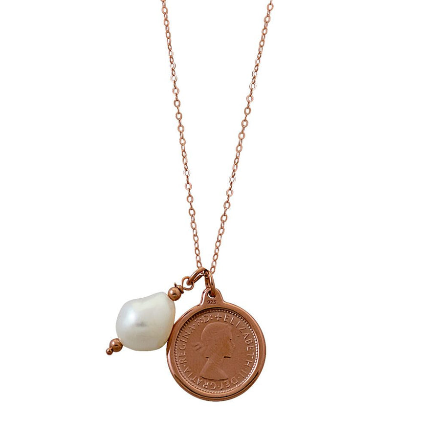Von Treskow rose gold sixpence and pearl necklace