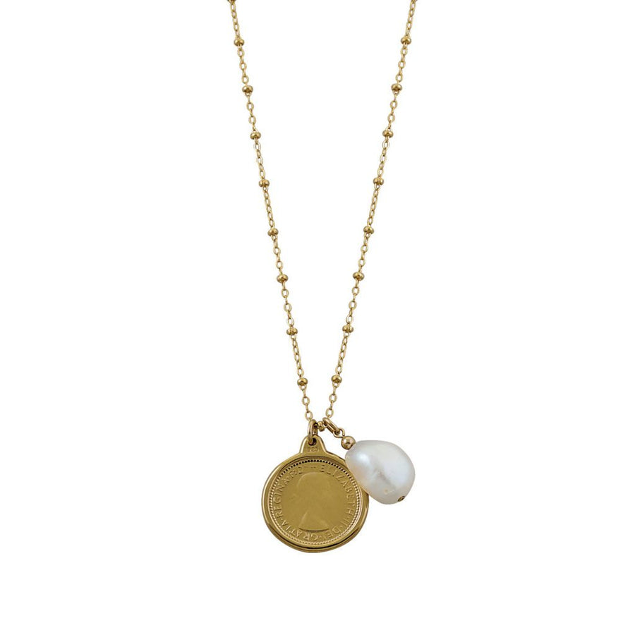 Von Treskow gold sixpence and pearl necklace