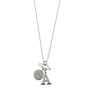 VON TRESKOW INITIAL & TOGGLE BALL CHAIN NECKLACE(42CM)