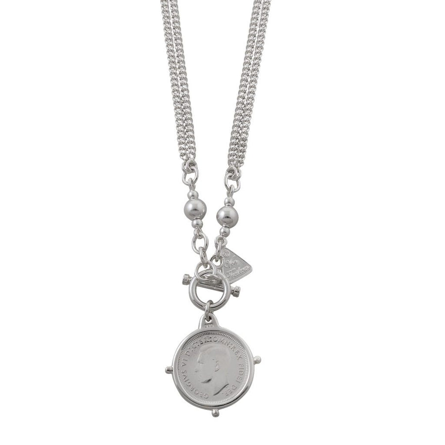 Von Treskow sixpence with compass frame necklace