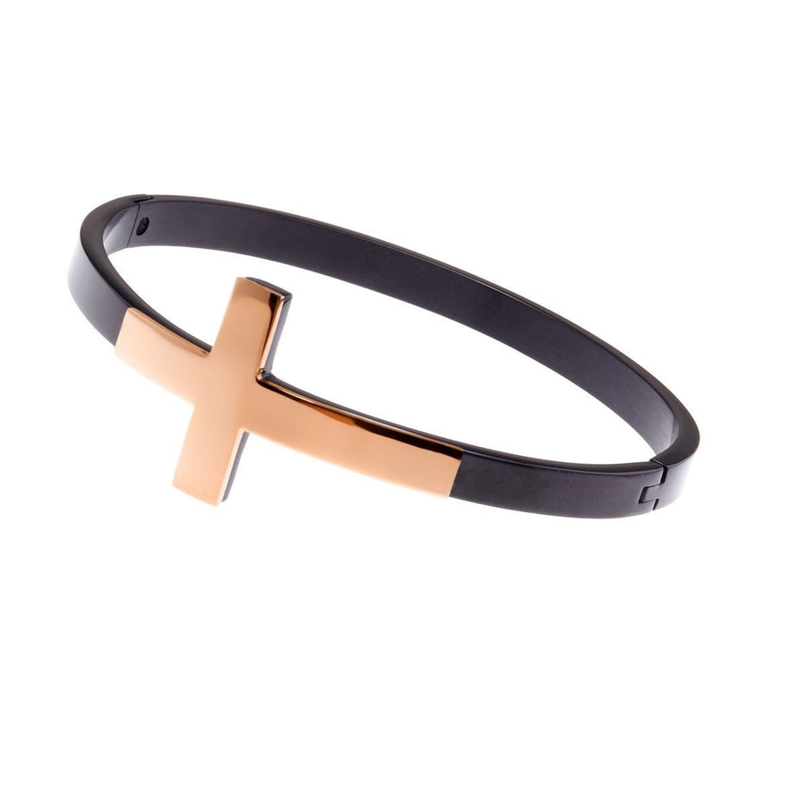 Black and rose gold cross bangle