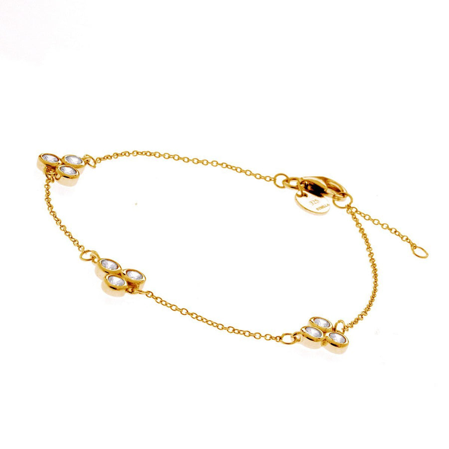 Sybella three stone gold bracelet