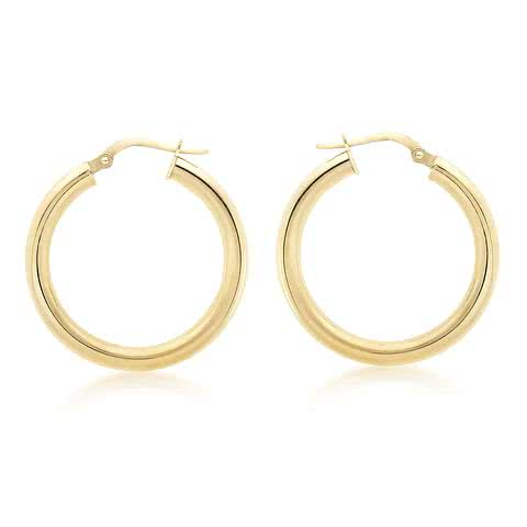 DUO FINE 9CT YELLOW GOLD 15MM HOOP EARRINGS