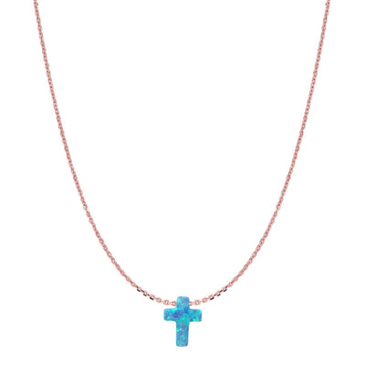 Duo Silver Cross Opalite Necklace