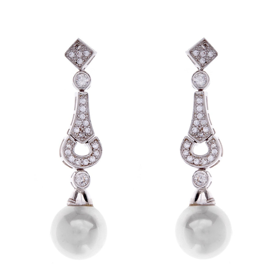Silver, cubic zirconia & pearl drop earrings