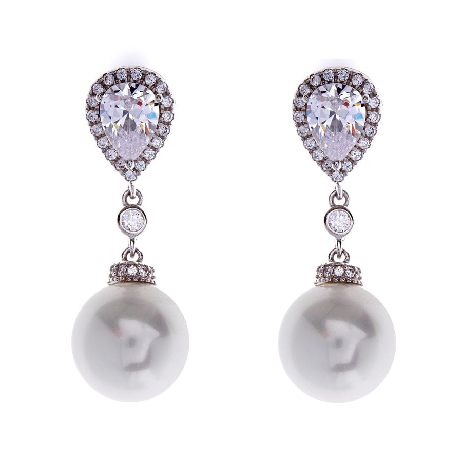 Silver, cubic zirconia & pearl tear drop earrings