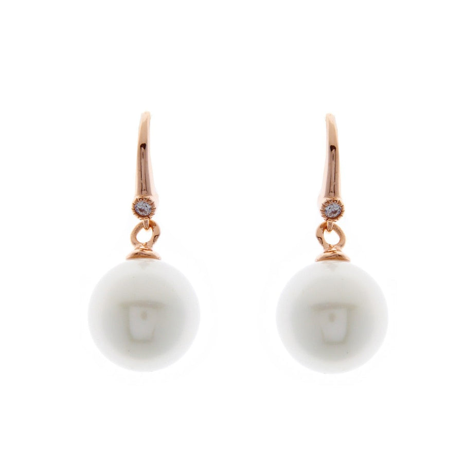SYBELLA WHITE PEARL ROSE GOLD EARRINGS