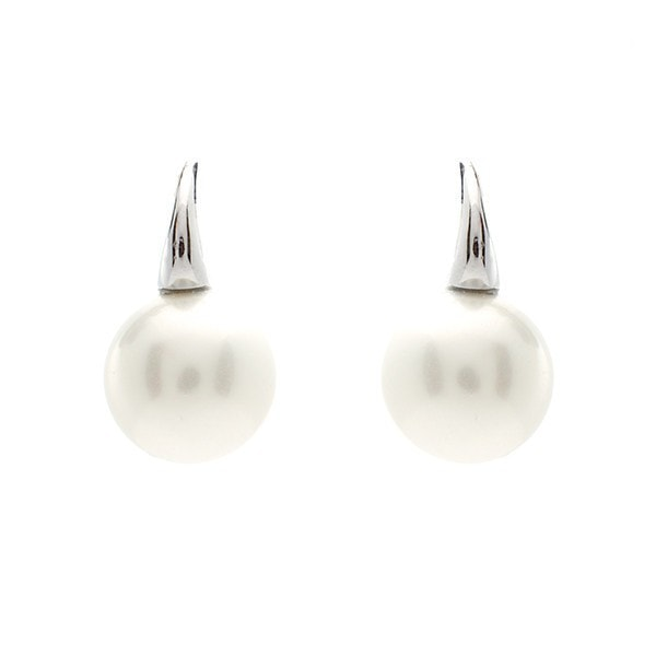 Sybella 12Mm Pearl On Silver Hook Earrings