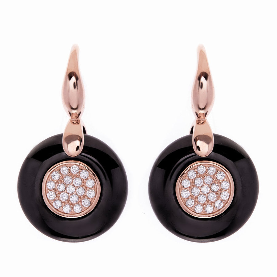 Sybella Rose gold black ceramic earrings