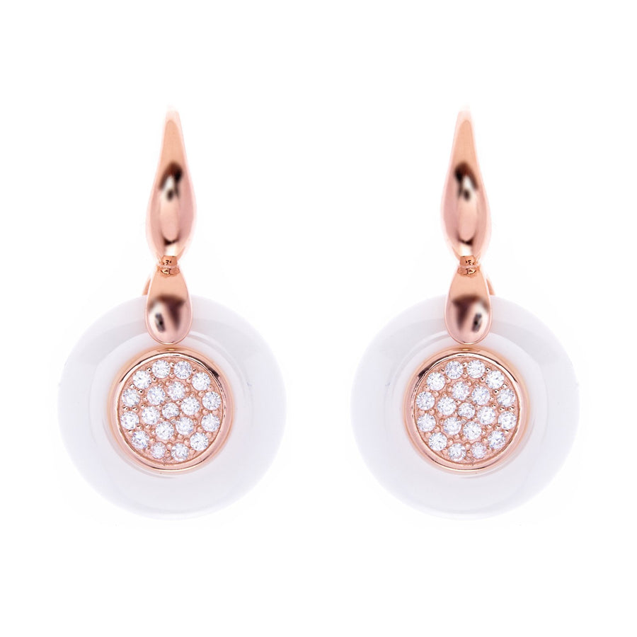 Sybella Rose gold white ceramic earrings