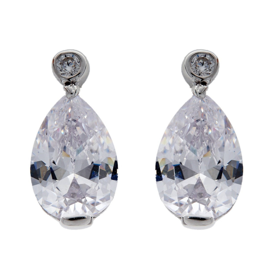 Silver large tear drop cubic zirconia studs-