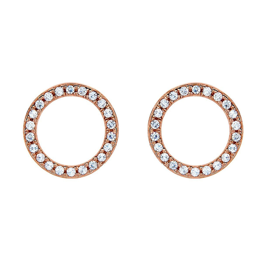 Sybella rose gold pave circle earrings