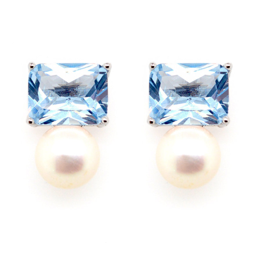 Sybella blue stone and pearl stud