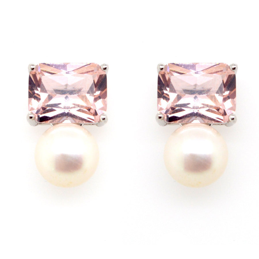 Sybella pink stone and pearl stud