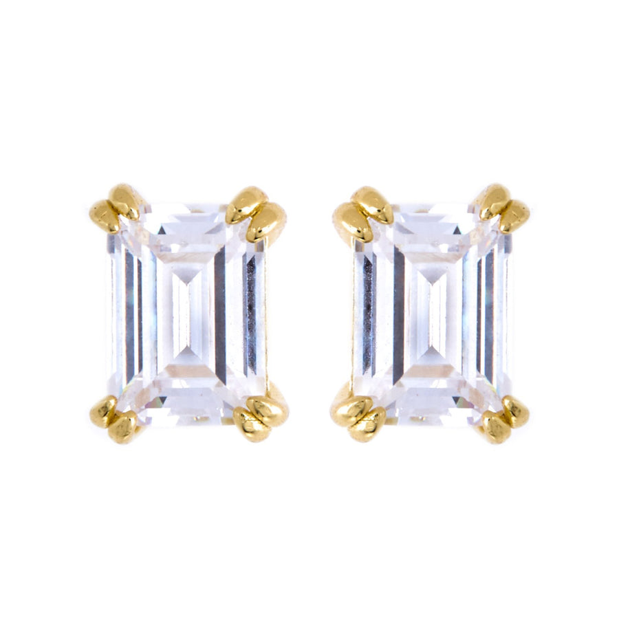 Sybella gold baguette  studs
