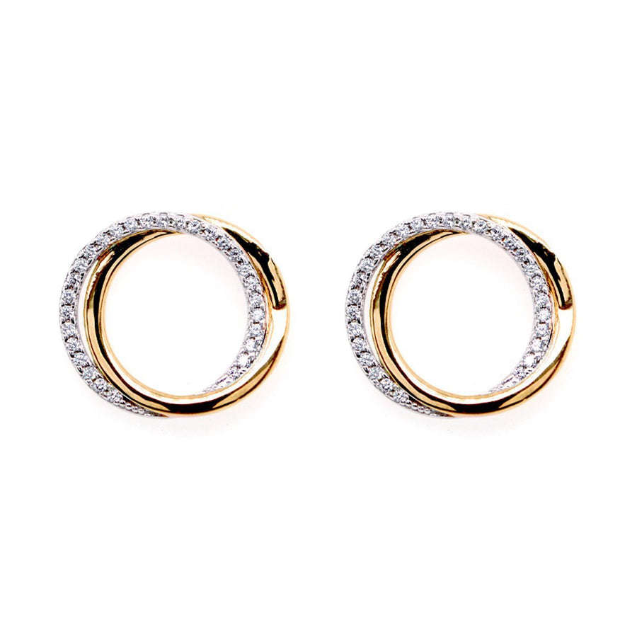 Sybella Two tone gold Cubic circle earrings