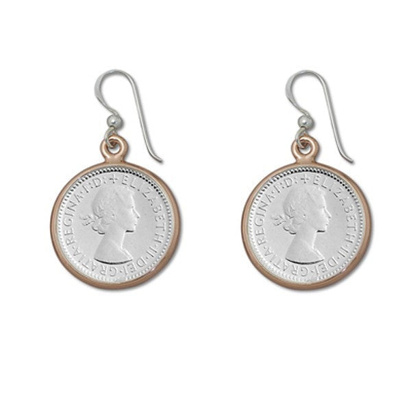 Von Treskow 6 Pence Coin With Rose Gold Bezel Earrings
