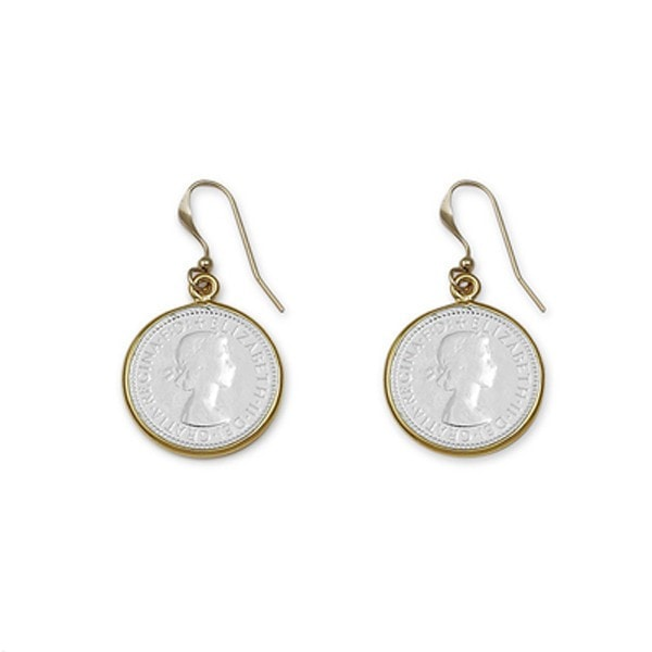 Von Treskow 3 Pence Coin With Gold Bezel Earrings
