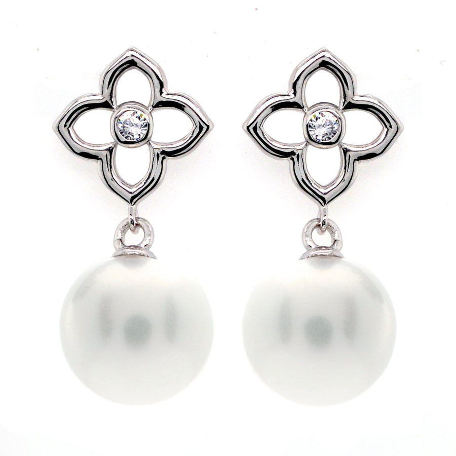 Sybella flower and pearl earrings