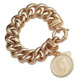 Von Treskow Gold Big Mama With Florin Coin Bracelet