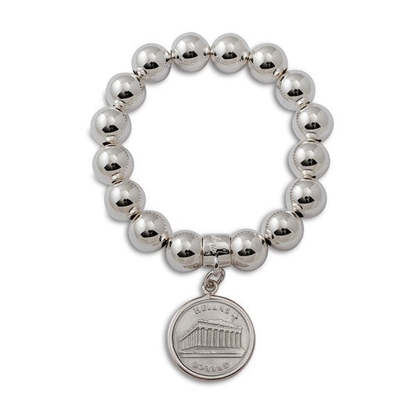 Von Treskow Greek Coin On Ball  Bracelet