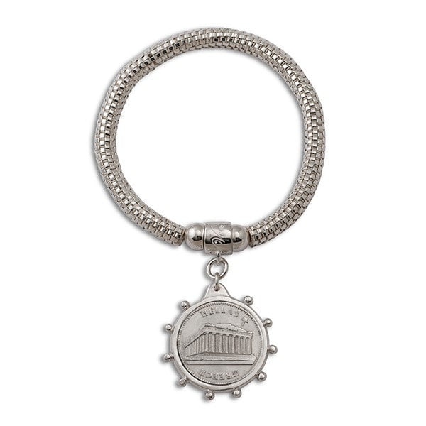 Von Treskow Bezel Greek Coin On Mesh Bracelet